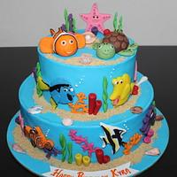Underwater, Sea, Nemo theme 2 tier fondant birthday cake