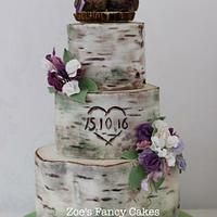 Silverbirch Wedding with Owl Topper