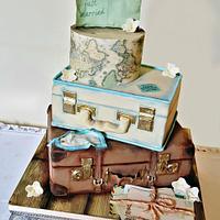 Vintage Travel Themed Wedding Cake