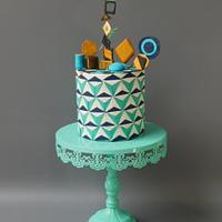 Geometric pattern cake