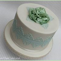 Sage Green Lace & Rice Paper Flower