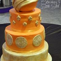 Bride in orange
