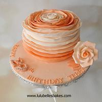 Ombre Peach Ruffle Cake