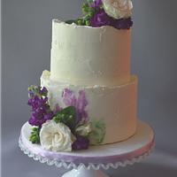 Purple and Sage Wedding Shower Cake