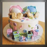 Double baby shower cake