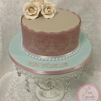 Vintage Birthday Cake- Lace & Pearls with Ivory sugar roses