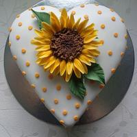 Sunflower heart cake.