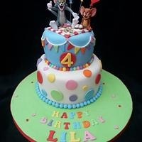Tom and Jerry themed birthday cake