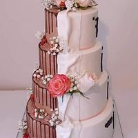Wedding cake with two faces