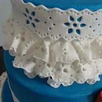 Blue Dutch Lace wedding cake by liesel