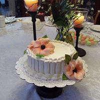 Miniature Bride's Tasting Cake with Peach Poppies