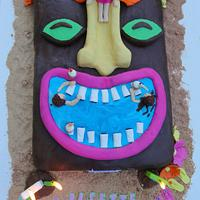 Hawaiian Tiki Swimming Pool Cake