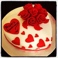 Heart and roses anniversary cake