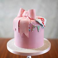 Bow and bunting birthday cake