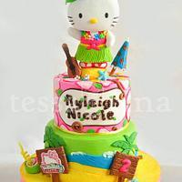 Hawaiian Hello Kitty Cake by tessatinacakes