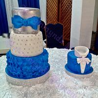 royal blue, silver and white