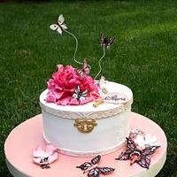 Cake with peony & butterflies