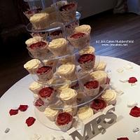 Ivory and Burgundy Cupcake Tower