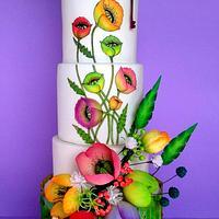 Poppies bunch wedding cake.