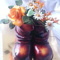 "Cake ""Old boots with sugar flowers"""