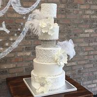 Silver Sparkle Wedding Cake