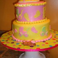 A girlie baby shower cake