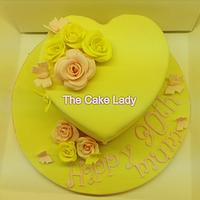 Lemon drizzle heart with handcrafted roses