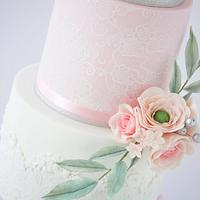 Romantic soft pink wedding cake by Bellaria Cake Design