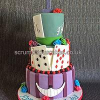Alice in Wonderland Themed Birthday Cake
