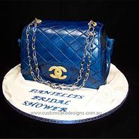 Blue Chanel Handbag Cake