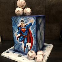 Handpainted Superman Cake