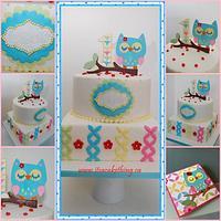 Owl Themed 1st Bday Cake