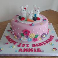 1st Birthday cake with bunnies & flowers x