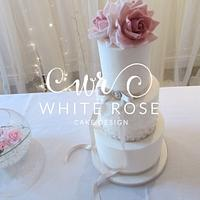 White Rose Cake Design