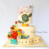 Indian spring wedding cake