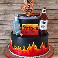 Beer and BBQ Baby Shower Cake