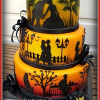 Sunset silhouette wedding cake