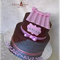 Ganache & silver christening cake