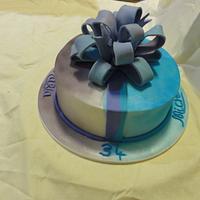 A 'half and half' cake for twins