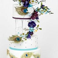 Peacock feather bouquet cake
