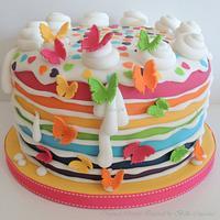Inside out rainbow cake