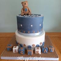 Buttons and Teddy Christening Cake