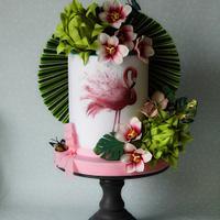 Flamingo birthday cake