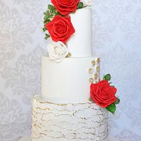 Wedding Cake with sugar roses