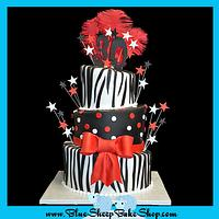 30th Birthday Cake - red, black, and zebra