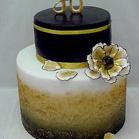 Black and gold ombre cake