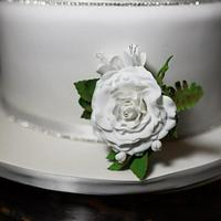 Rose, freesia and fern classic wedding cake