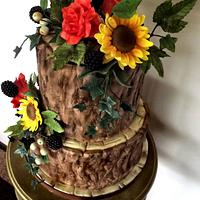 Rustic Tree Bark Cake, With Sunflowers, Blackberries & Roses x