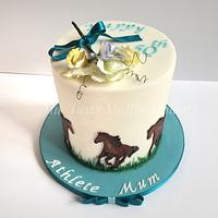 Free hand drawn and painted horses and sweetpeas