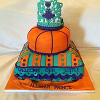 Welcome All-star prince - turquoise , purple, orange baby shower cake